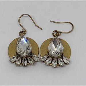 J. Crew Gold & Crystal Earrings